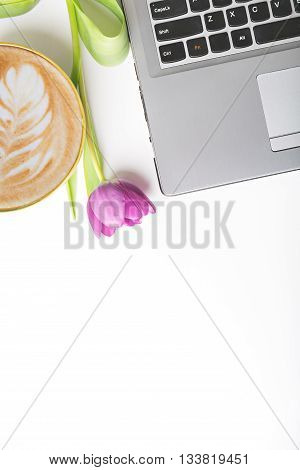 coffe and notebook on white table flat lay copy space