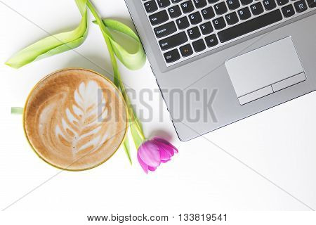 coffe and notebook on white table flat lay