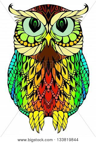 Interesting, creative, cute design of colorful rainbow animal owl, pattern of owl, creative owl, symbol owl, comic owl, modern owl, template of owl, trendy owl, beautiful owl, educational owl, professor owl, owl.