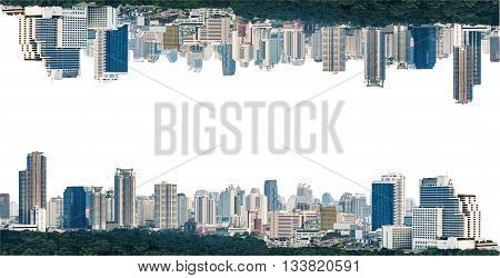 many modern buildings on midtown showing skyscraper in panoramic metropolitan isolated on white background