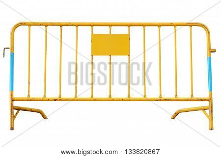 yellow road security barrier isolated on white background