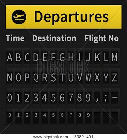 Airport Timetable Alphabet