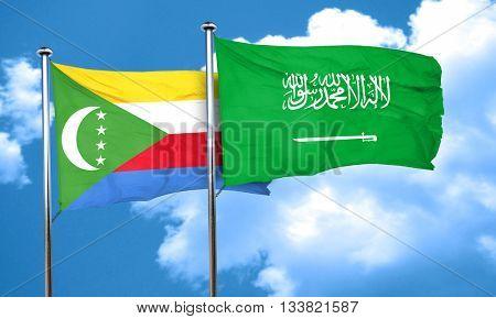 Comoros flag with Saudi Arabia flag, 3D rendering