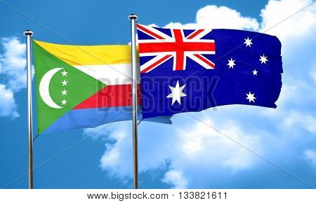 Comoros flag with Australia flag, 3D rendering