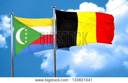 Comoros flag with Belgium flag, 3D rendering