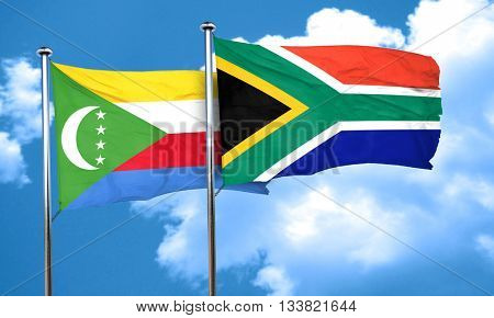 Comoros flag with South Africa flag, 3D rendering