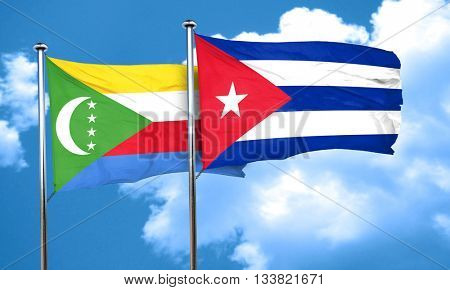 Comoros flag with cuba flag, 3D rendering