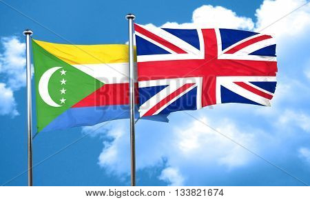 Comoros flag with Great Britain flag, 3D rendering
