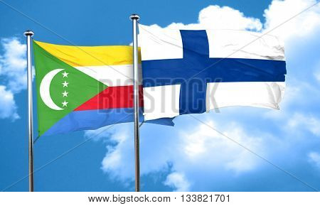 Comoros flag with Finland flag, 3D rendering