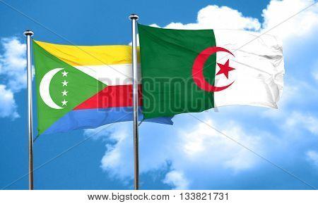 Comoros flag with Algeria flag, 3D rendering