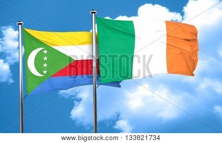 Comoros flag with Ireland flag, 3D rendering