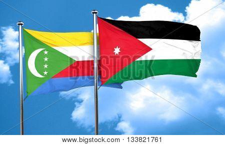 Comoros flag with Jordan flag, 3D rendering