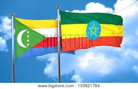 Comoros flag with Ethiopia flag, 3D rendering