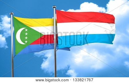 Comoros flag with Luxembourg flag, 3D rendering