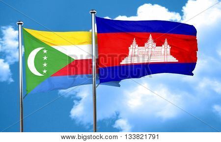 Comoros flag with Cambodia flag, 3D rendering