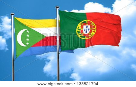 Comoros flag with Portugal flag, 3D rendering