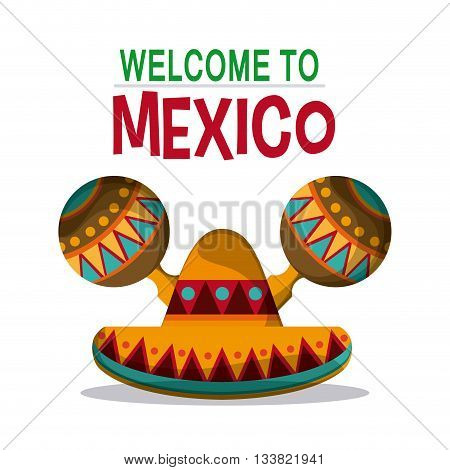 Welcome to Mexico, culture icons in flat style design, maracas and hat. vector illustration