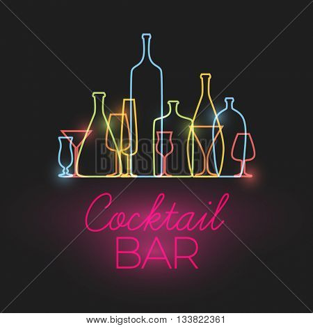Vector Fresh Cocktail bar neon sign with colorful glasses and bottles icons made by thin line