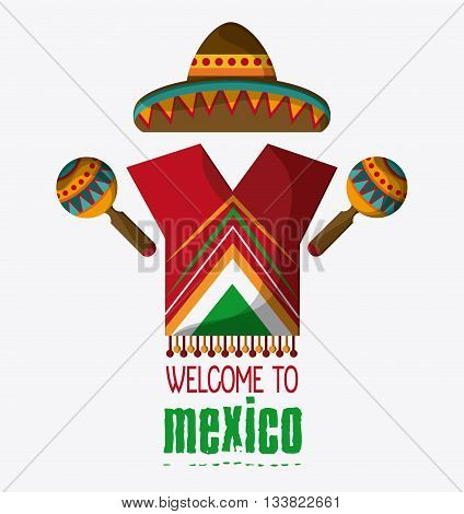 Mexico culture icons in flat design style, maracas and hat, vector illustration