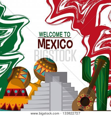 Mexico culture icons in flat design style, set of guitar, maracas, cactus anmd flag, vector illustration