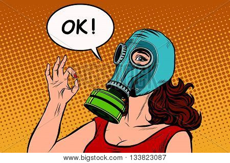 Young woman in gas mask okay gesture pop art retro vector. War gas attack