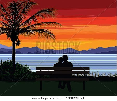 Silhouette of a romantic senior couple sitting on a bench by a palm tree, looking at the ocean and a beautiful colorful sunset.