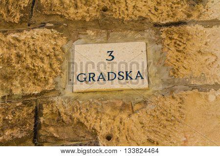 Trogir Croatia - May 10 2016: street sign in Trogir Croatia
