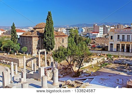Medieval Byzantine church and old ruins, Roman Agora, Athens, Greece
