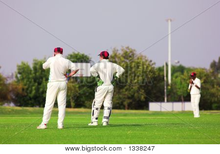 Cricket Players Standing Around Waiting On The Field
