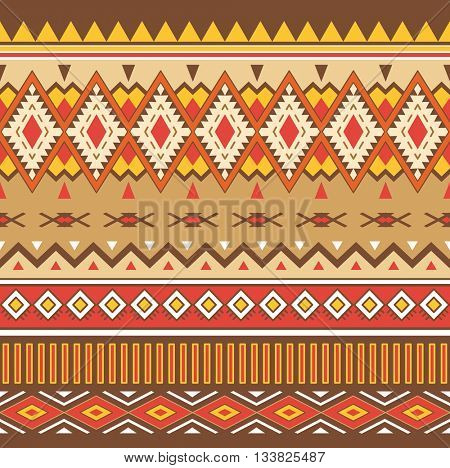 Tribal Boho Seamless Pattern. Ornament with Tribal Shape Elements. Ethnic Geometric Print. Boho Vector Pattern. Texture for Fabric, Wallpaper and Wrapping.