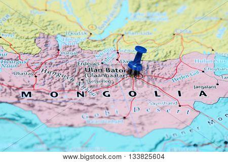 Ulan Bator pinned on a map of Mongolia