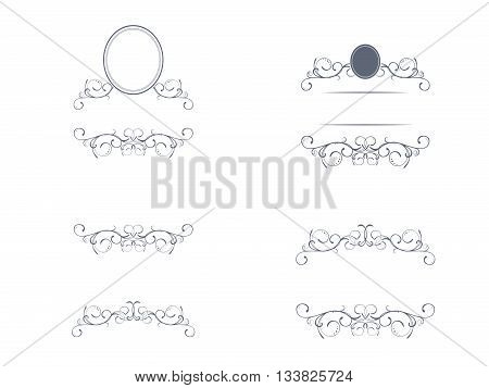 Swirl Monograms Border And Frames Collection For Decoration Copyspace