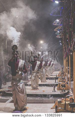Varanasi, India - January 26: An Unidentified Hindu Priest Conducts Religious Ganga Aarti Ritual (fi