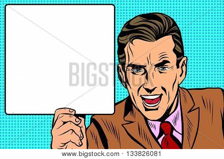 Retro man with a poster art retro vector. Adult promoter announcement man. Businessman advertises