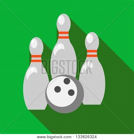 Skittles and bowling ball with long shadow. Picture style fla
