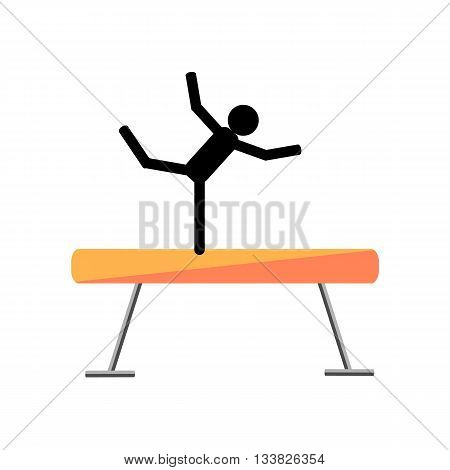 Gymnastic balance beam on a white background. Picture style flat