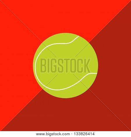Tennis ball on a two-tone background. Picture style flat