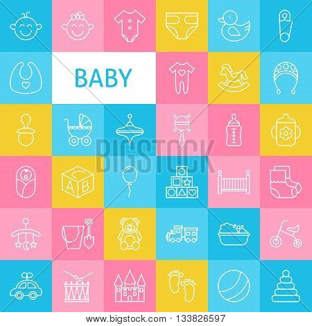 Vector Line Art Baby And Newborn Toys Icons Set