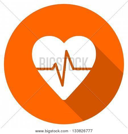 pulse vector icon, orange circle flat design internet button, web and mobile app illustration