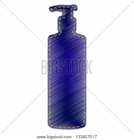 Gel, Foam Or Liquid Soap. Dispenser Pump Plastic Bottle silhouette. Jeans style icon on white background.