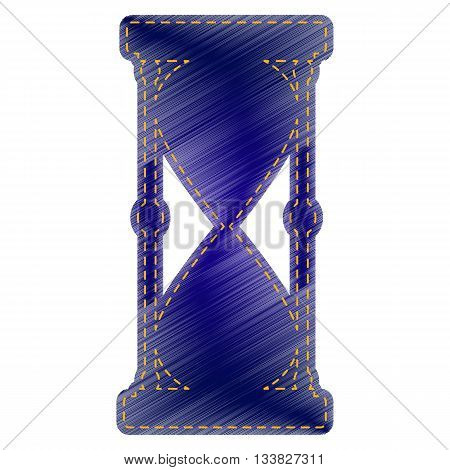 Hourglass sign illustration. Jeans style icon on white background.