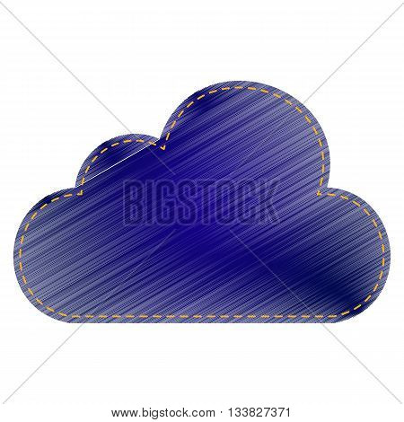 Cloud sign illustration. Jeans style icon on white background.