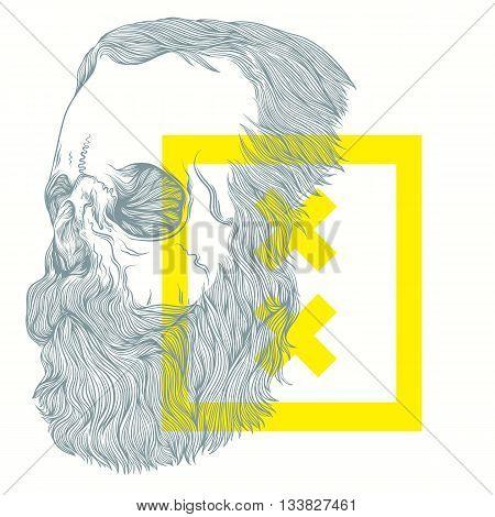 vector illustration of brutal bearded skull  on a white background