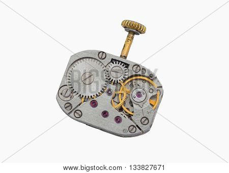 An old clockwork with crank isolated on a white backround