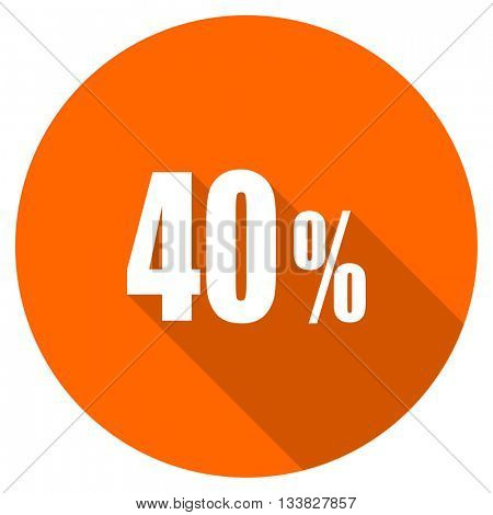 40 percent vector icon, orange circle flat design internet button, web and mobile app illustration