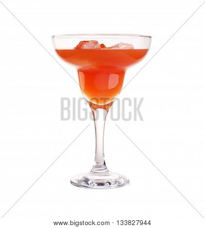 Glass of orange cocktail with straws isolated on white
