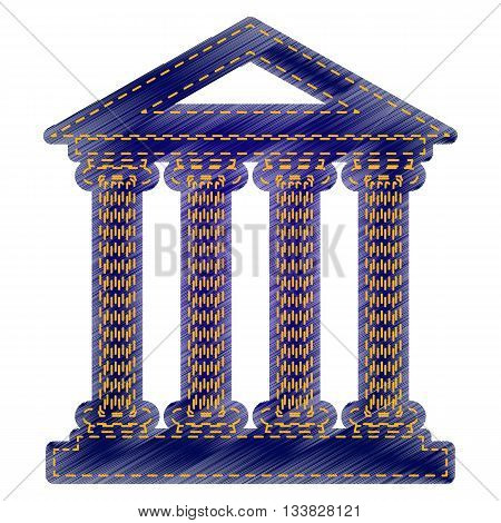 Historical building illustration. Jeans style icon on white background.