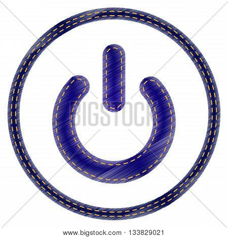 On Off switch sign. Jeans style icon on white background.