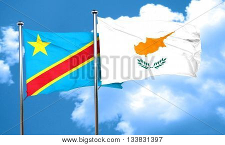 Democratic republic of the congo flag with Cyprus flag, 3D rende