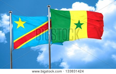Democratic republic of the congo flag with Senegal flag, 3D rend